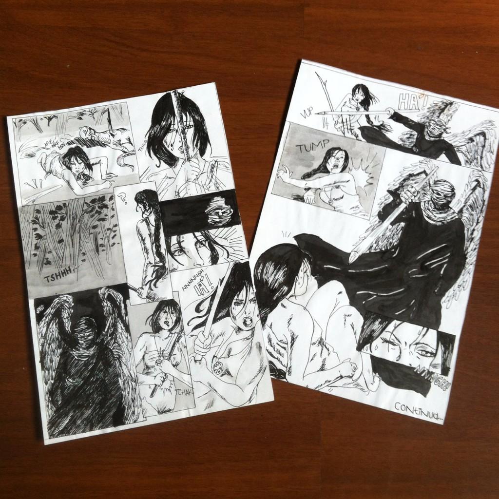 Duas páginas com uma cena de ação de uma mulher lutando contra um cara encapuzado e com asas