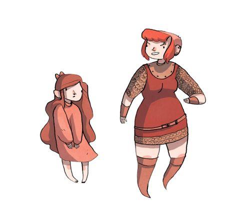 Ilustração de Nimona criança, com longos cabelos ruivos e pose indefesa; ao lado, Nimona jovem, cabelos raspados atrás, ainda ruiva, roupitcha medieval e pose desafiadora.