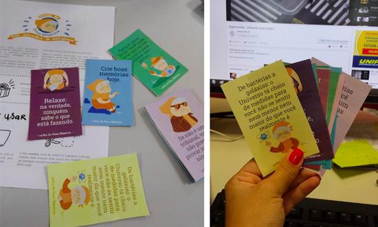 fotos enviadas pelas leitoras mostrando as cartas da Dona Mexerica que imprimiram em casa