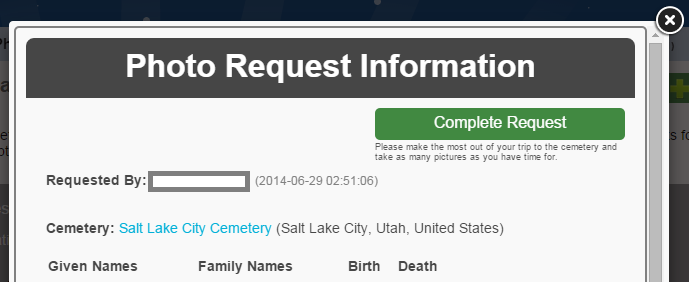 BillionGraves Cemetery Record Request Completed Request