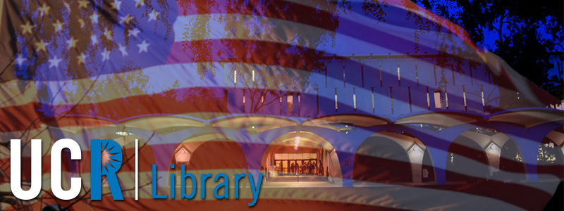 Rivera Library glows blue in the twilight. Visit the UCR | Library online at library.ucr.edu