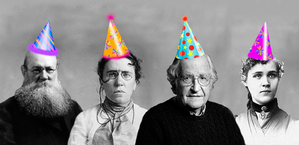 Peter Kropotkin, Emma Goldman, Noam Chomsky, and Voltairine de Cleyre – all in party hats.