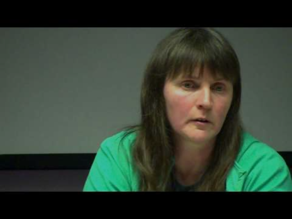 Helen Steel speaking at Campaign Opposing Police Surveillance (COPS) meeting