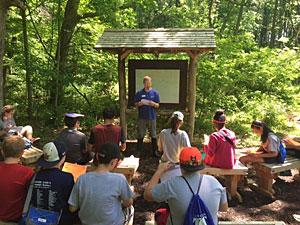 Steve Kerlin teaching in the outdoor classroom