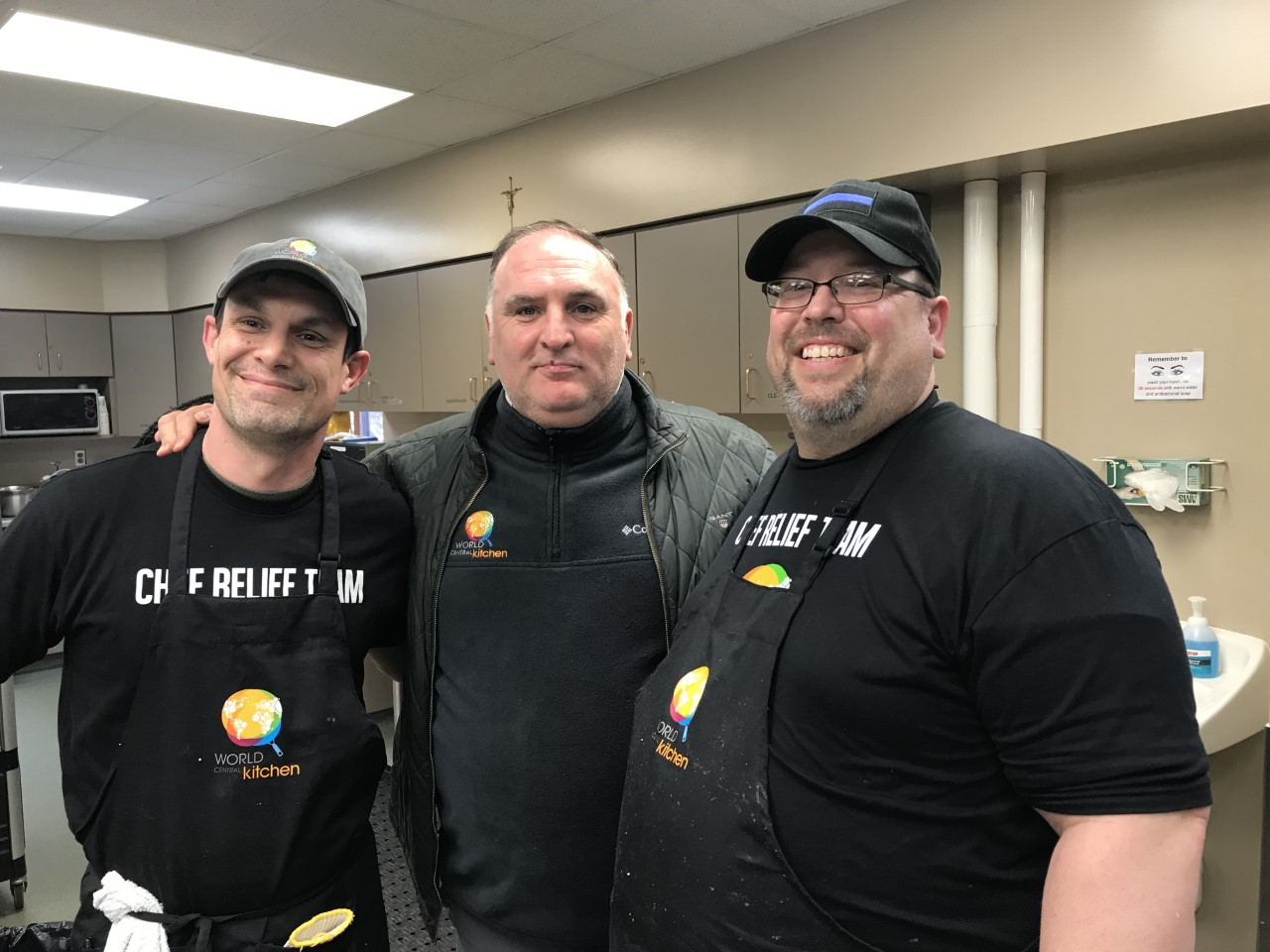 Cornell College General Manager James Richards (left) and Sous Chef Shane Olinger (right) with chef José Andrés, founder of World Central Kitchen