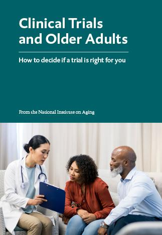 clinical trials and older people booklet cover with doctor talking to 2 patients
