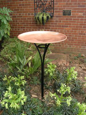 elegant copper birdbath