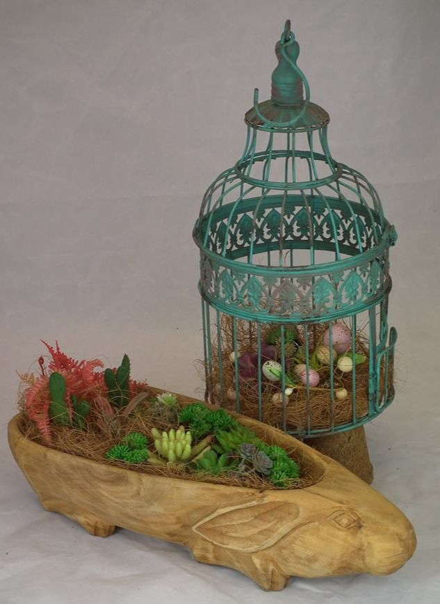 rabbit bowl and chickadee cage