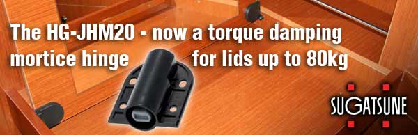 The HG-JHM20 - now a torque damping mortice hinge for lids up to 80kgs