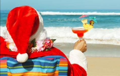 Santa on the beach photo.