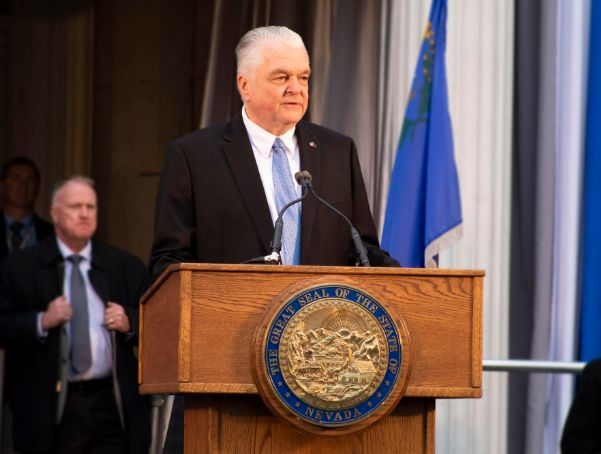 Governor Steve Sisolak gives his inauguration speech. Photo by KRYSTA SCRIPTER
