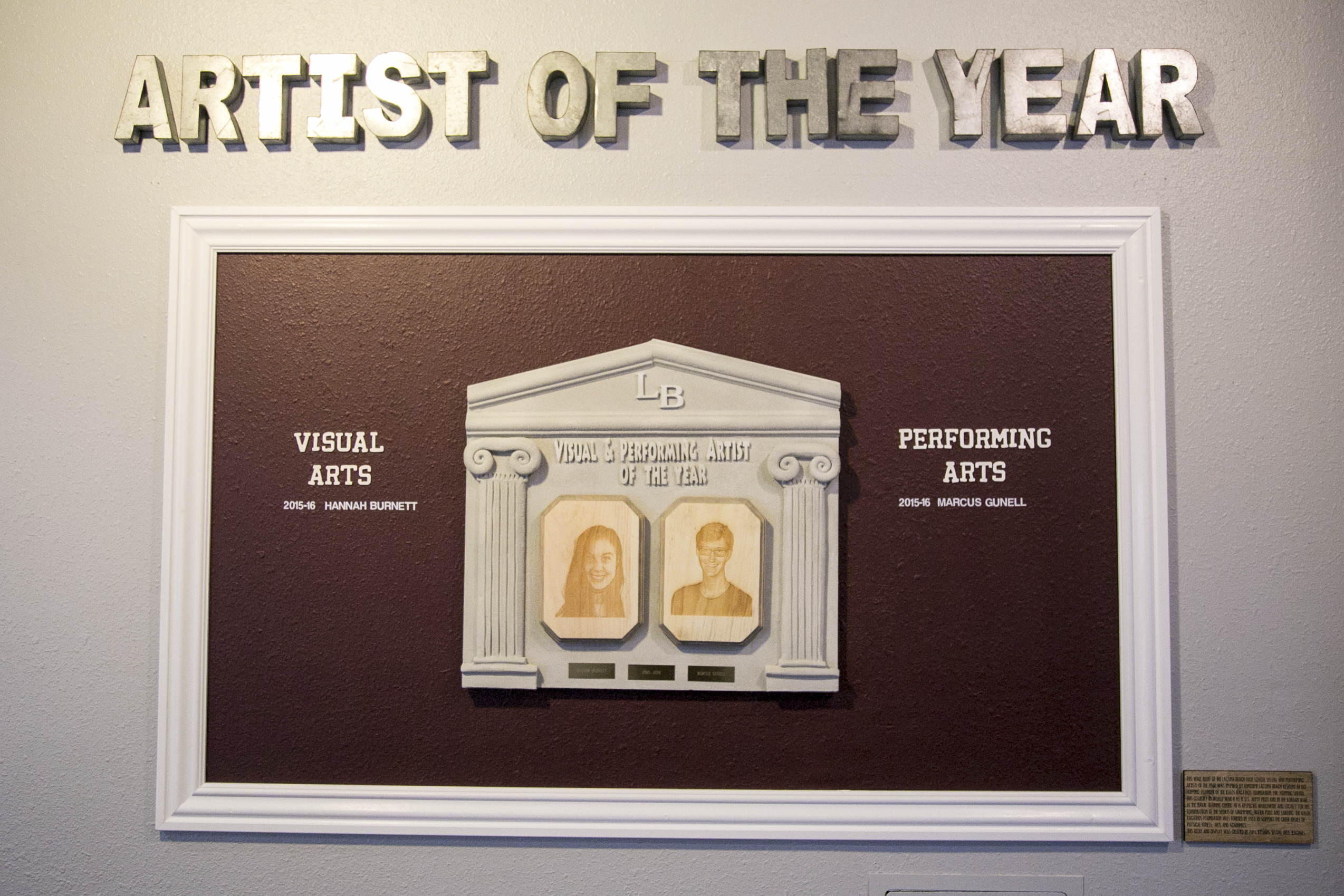 Artist of the Year display
