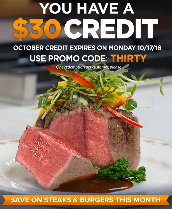 Chicago Steak Company Free $30 Credit
