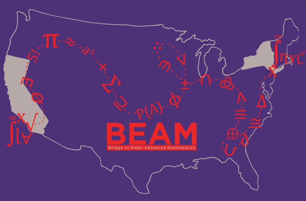 A map of the USA with NY and CA highlighted. A treasure path of math symbols connects Los Angeles and New York City. The image also includes the BEAM logo.