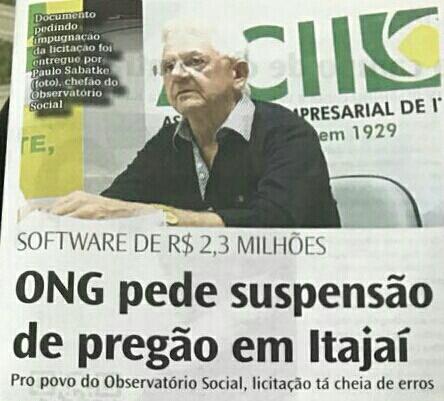 Software de R$ 2,3 milhões: ONG de Itajaí pede impugnação da licitação