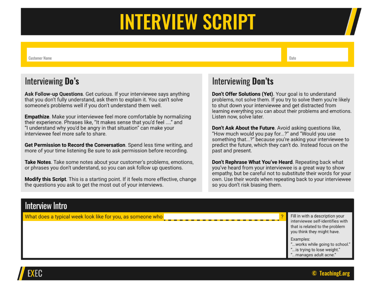 Customer Interviewing Script used in Experiential Entrepreneurship Curriculum