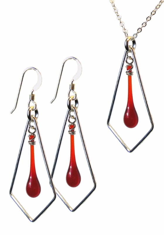 Matching earrings and necklace set - Go Fly a Kite in Garnet
