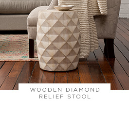 Wooden Diamond Relief Stool