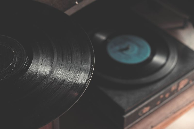 vinyl records on player