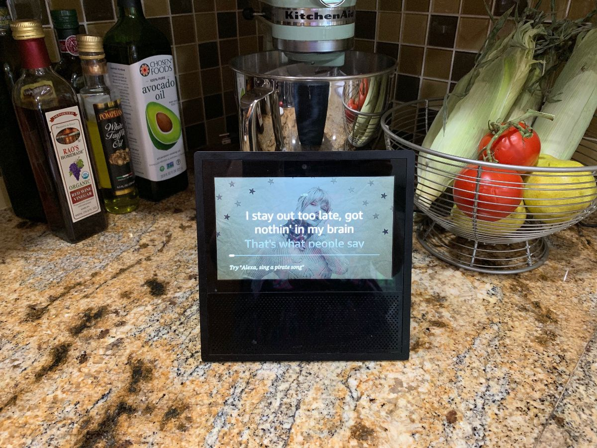 An Echo Show with song lyrics