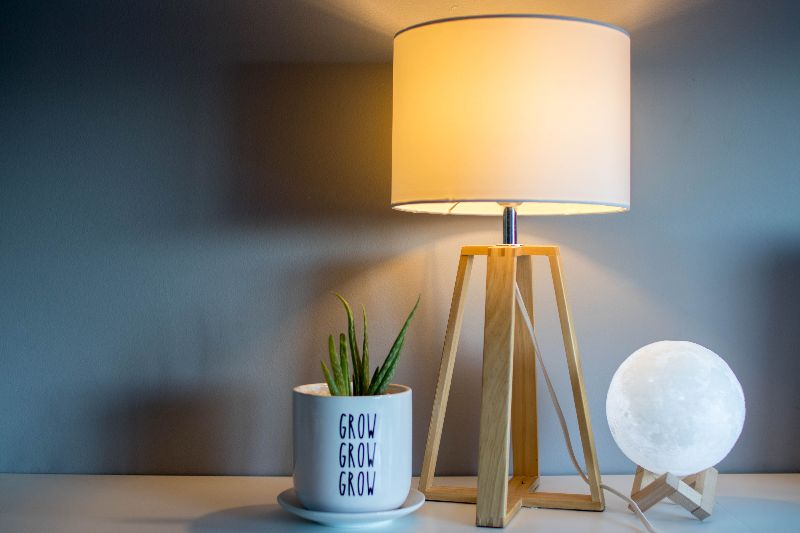 desk lamp with plant
