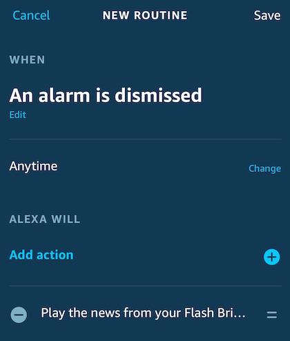 Alexa app screenshot of routine