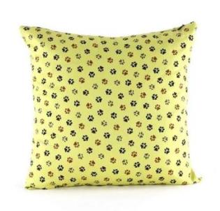 Fun & Playful Dog Footprints Yellow Throw Pillow at Pet Stop Store