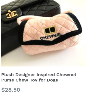 Plush Designer Inspired Chewnel Purse Chew Toy for Dogs