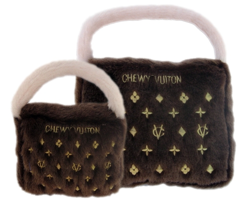 Chic Plush Gold & Brown Chewy Vuiton Pet Bed