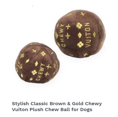 Stylish Classic Brown & Gold Chewy Vuiton Plush Chew Ball for Dogs
