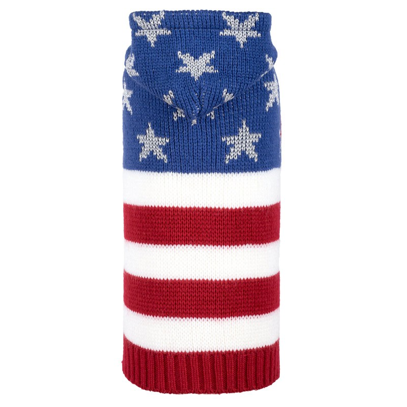Patriotic Red, White & Blue Stars and Stripes Dog Hoodie at Pet Stop Store