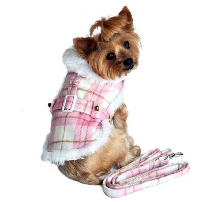 Fancy Pink & White Plaid Dog Coat & Leash
