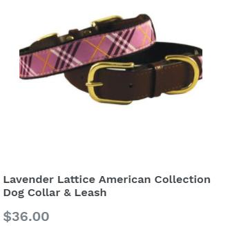 Lavender Lattice American Collection Dog Collar & Leash