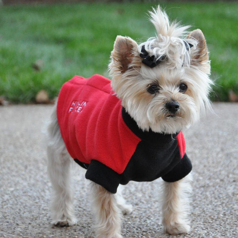 Comfy Red & Black Highline Fleece Coat at Pet Stop Store