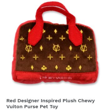 Red Designer Inspired Plush Chewy Vuiton Purse Pet Toy
