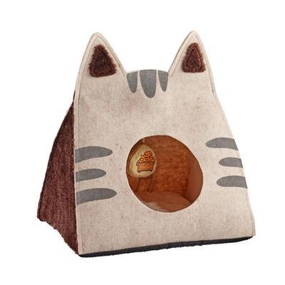 Easy to Wash Foldable Tan Cat Cave Bed at Pet Stop Store