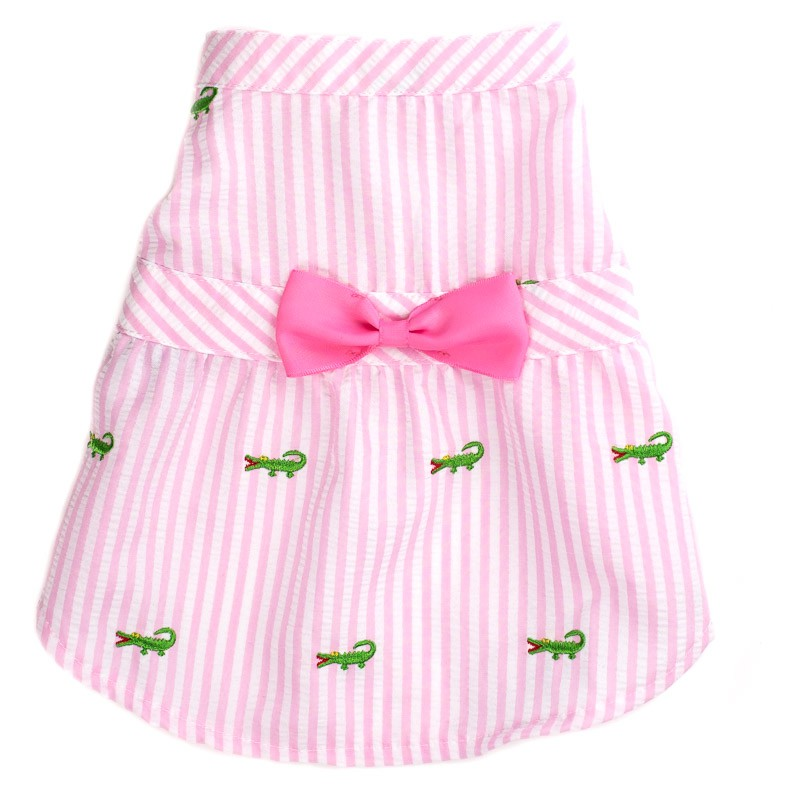 Cute Pastel Spring Pink Stripe Alligator Dog Dress