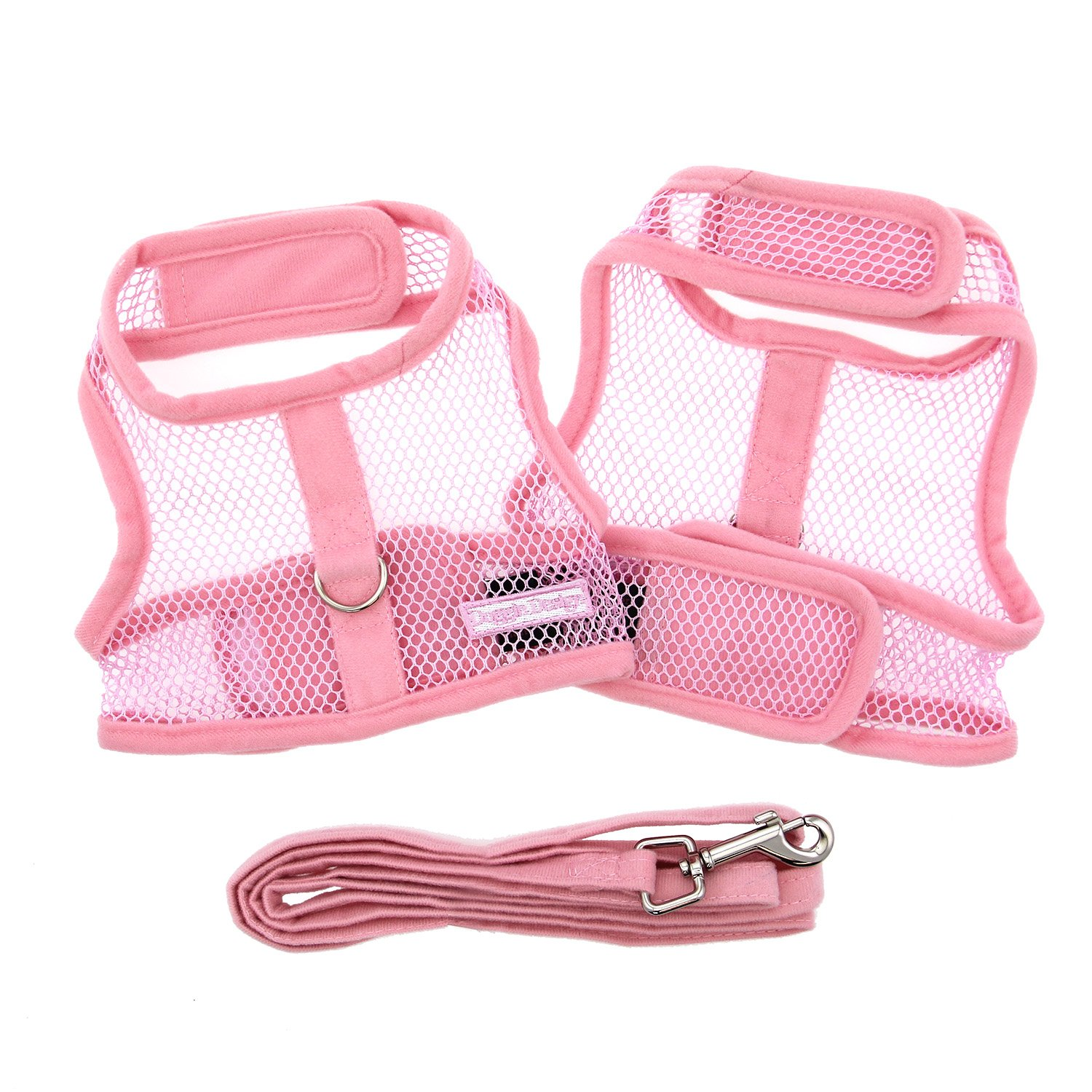 Cute Pink Mesh Velcro Dog Harness with Leash at Pet Stop Store