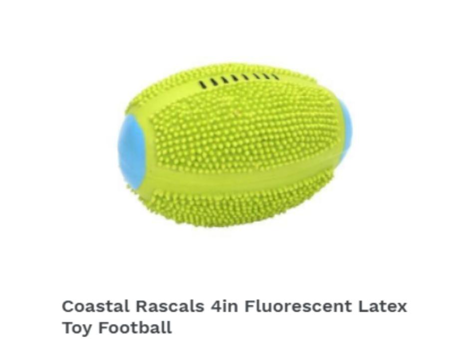 Coastal Rascals 4in Fluorescent Latex Toy Football