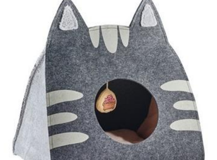 Easy to Wash Foldable Gray Cat Cave Bed