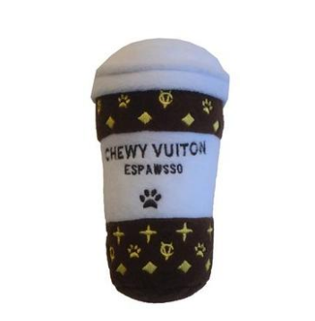 """Chewy Vuiton Boutique Coffee """"Espawsso"""" Dog Toy"""