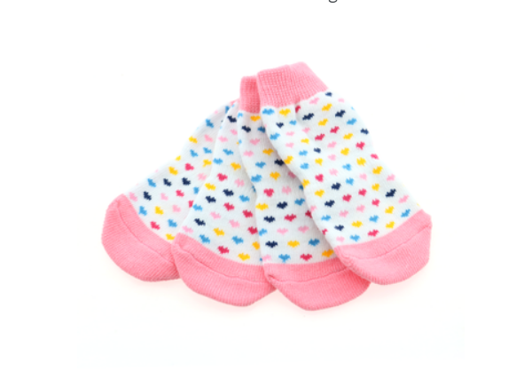 Cute Non-Skid Pink and White with Hearts Dog Socks