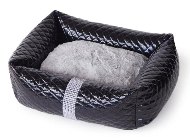 Fancy Plush Faux Leather Liquid Ice Black Luxury Dog Bed