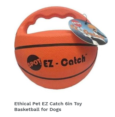 Ethical Pet EZ Catch 6in Toy Basketball for Dogs