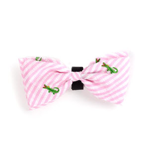 Cute Pastel Pink Stripe Alligator Dog & Cat Bow Tie at Pet Stop Store