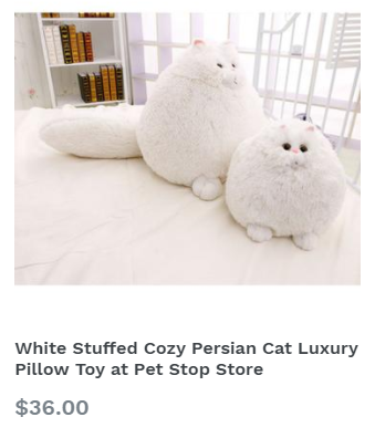 White Stuffed Cozy Persian Cat Luxury Pillow Toy at Pet Stop Store