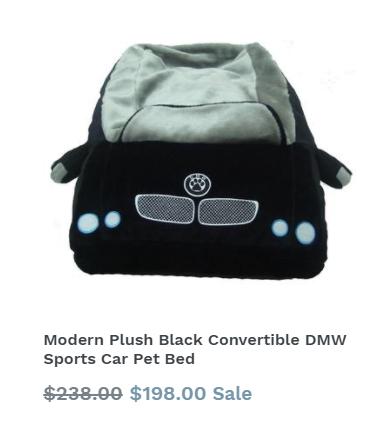 Modern Plush Black Convertible DMW Sports Car Bed
