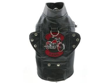 Embroidered Biker Dog Motorcycle Black Jacket