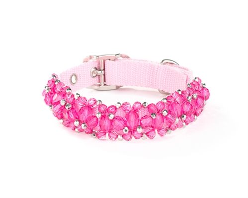Fancy Pink & Black Beaded Dog & Cat Collar at Pet Stop Store