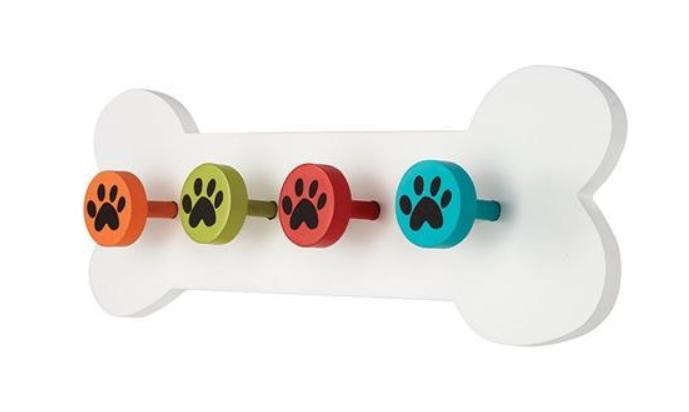 Hand Painted White Dog Bone Leash Holder